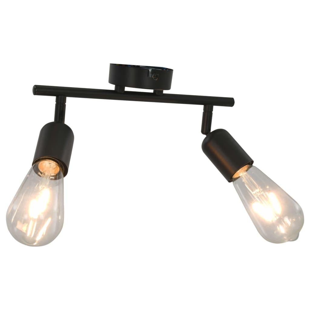 Spotlight med 2 lampor och glödlampor 2 W svart E27