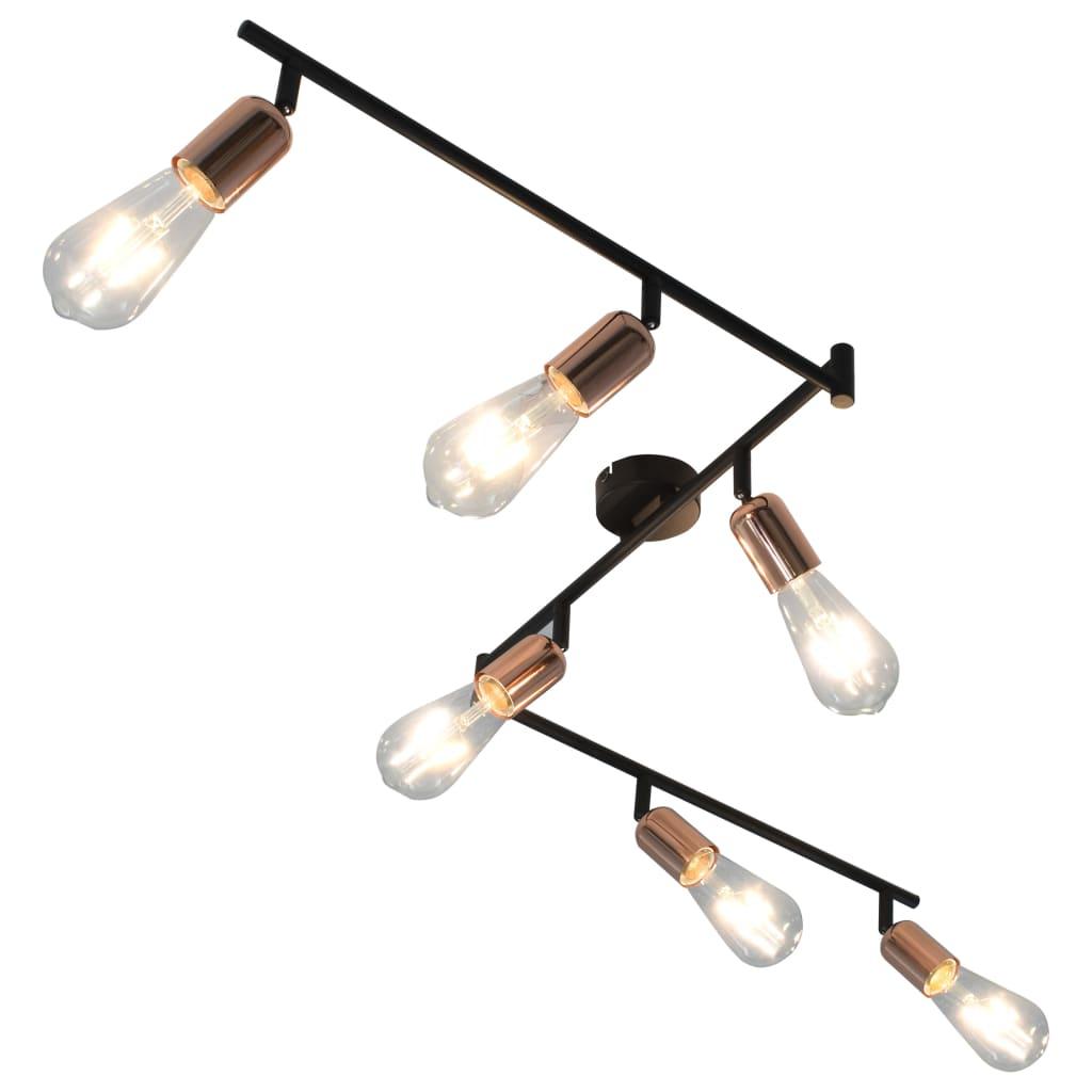 Spotlight med 6 glödlampor 2 W svart och koppar 30 cm E27