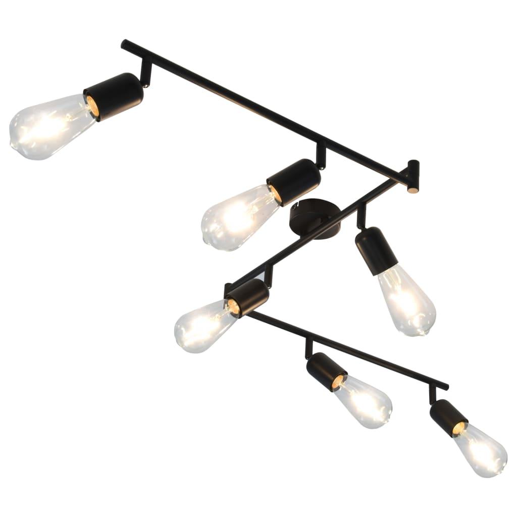 Spotlight med 6 st glödlampor 2 W svart 30 cm E27