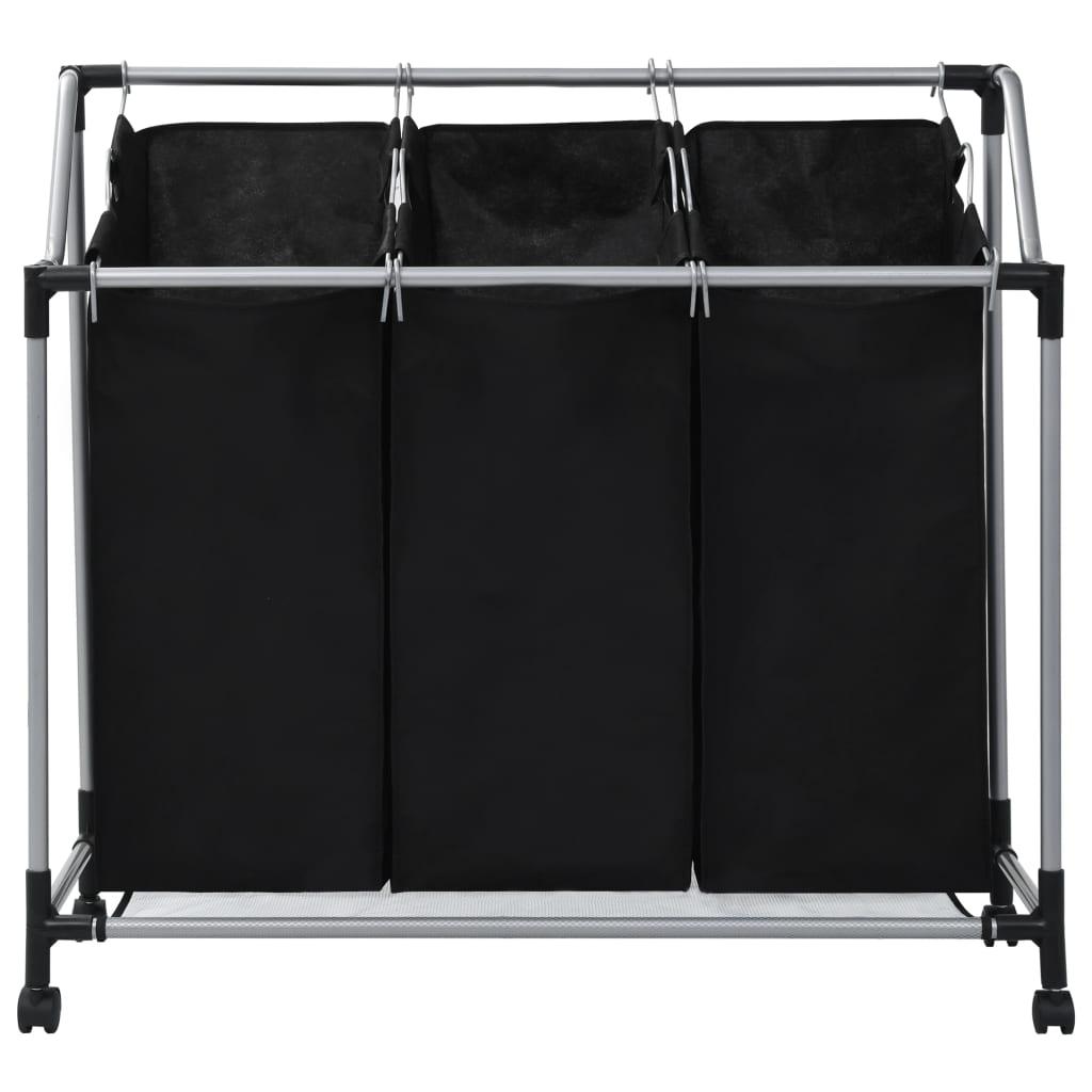 Tvättsorterare med 3 påsar svart stål