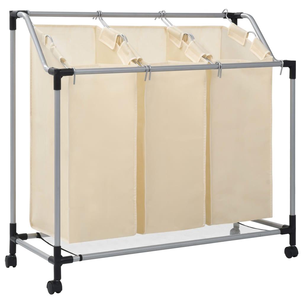 Tvättsorterare med 3 påsar gräddvit stål