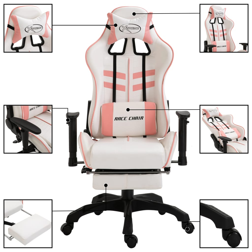 vidaXL Gamingstol med fotstöd rosa konstläder