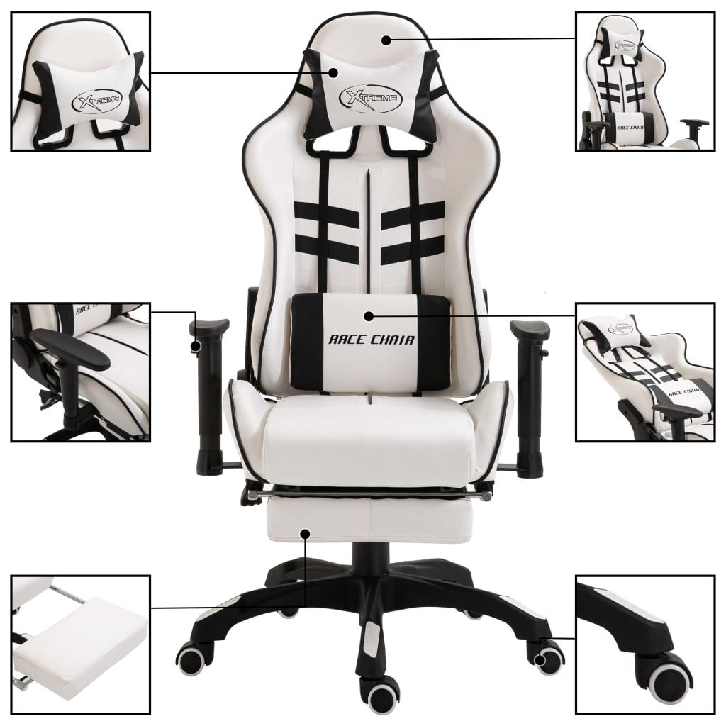 vidaXL Gamingstol med fotstöd svart konstläder