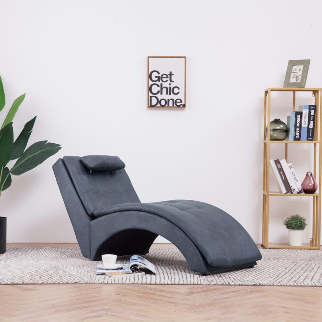 Schäslong med kudde grå konstmocka