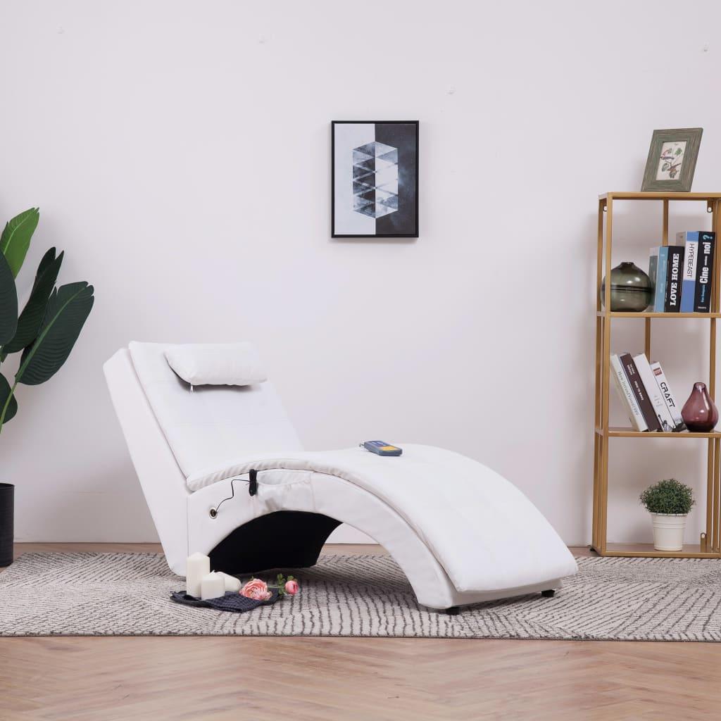Massageschäslong med kudde vit konstläder