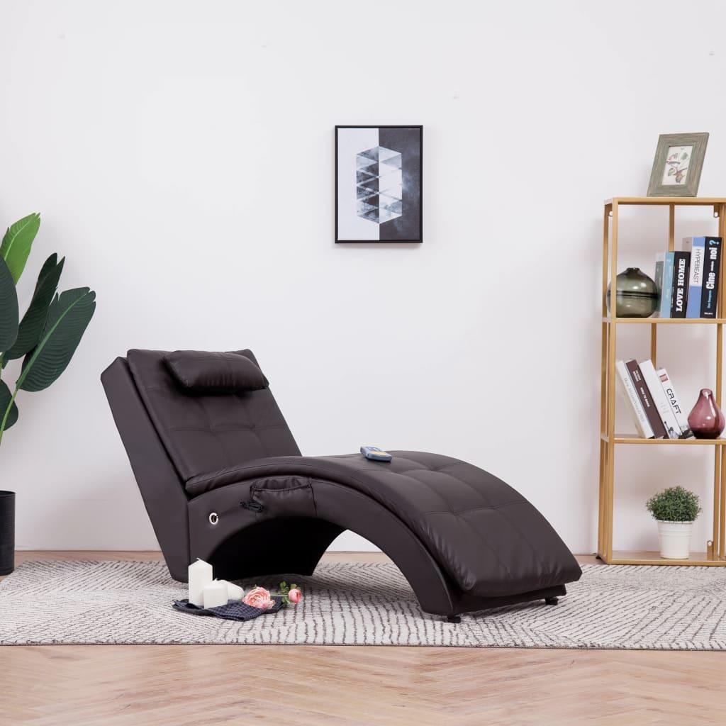 Massageschäslong med kudde brun konstläder