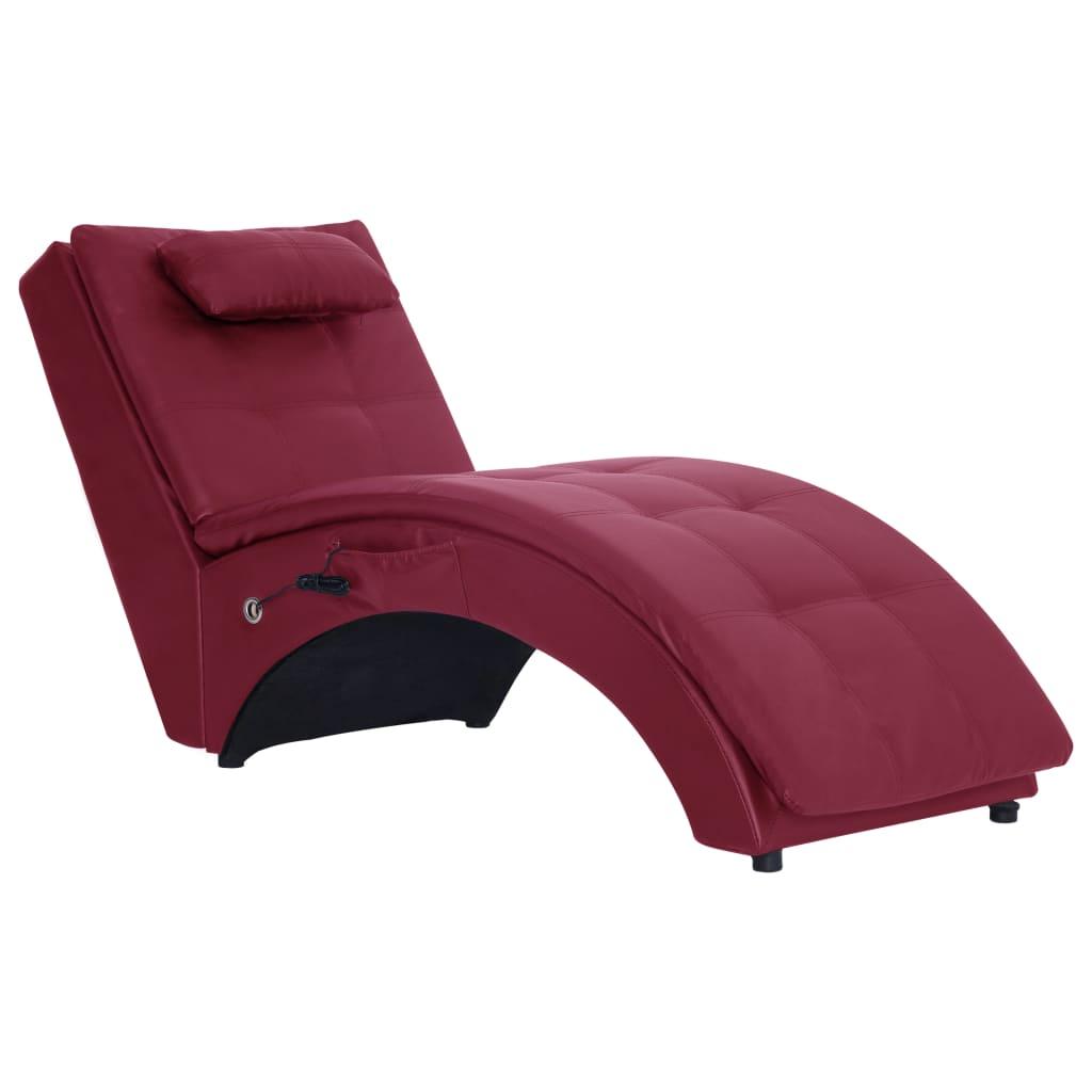 Massageschäslong med kudde vinröd konstläder