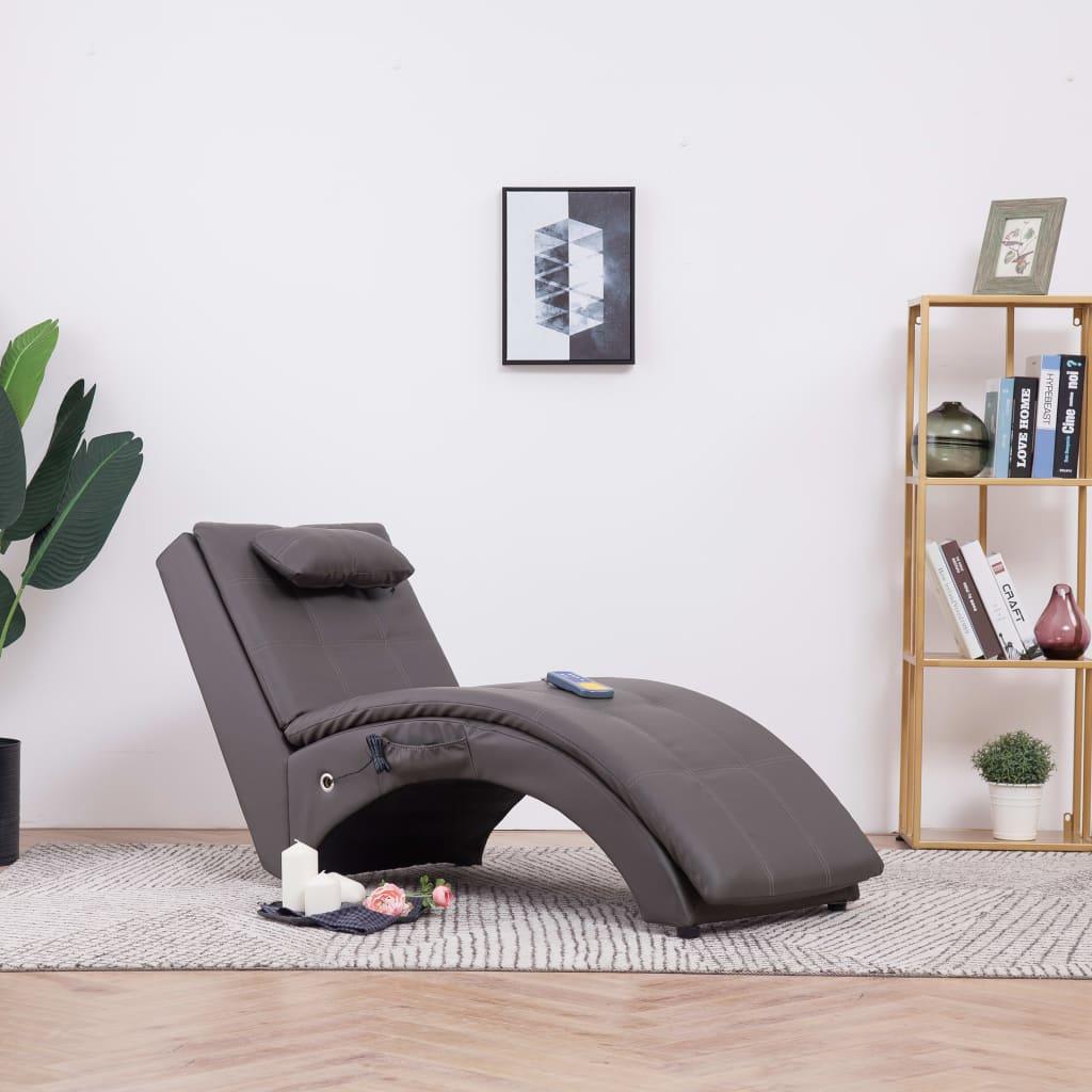 Massageschäslong med kudde grå konstläder