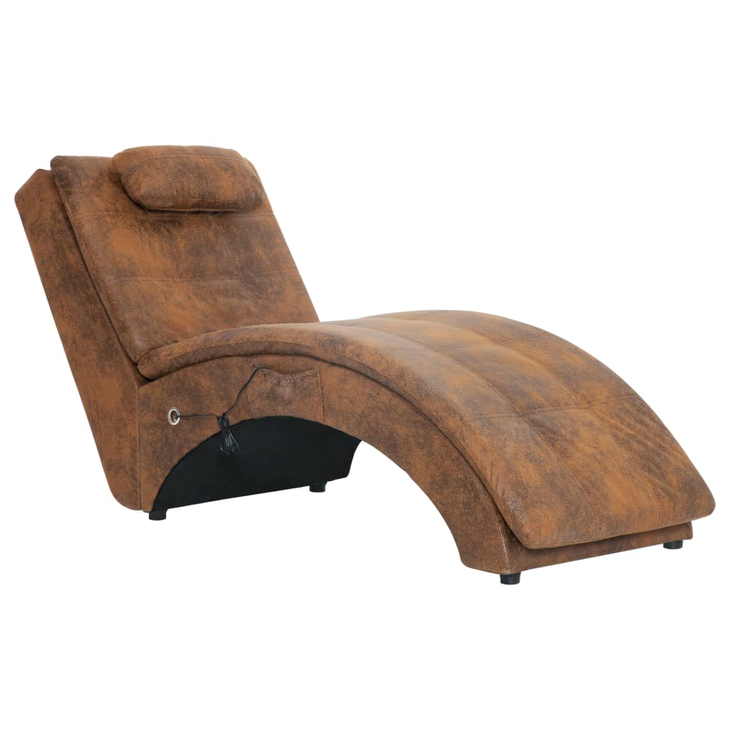Massageschäslong med kudde brun konstmocka