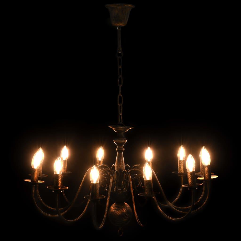 Takkrona antiksvart 12 x E14-glödlampor