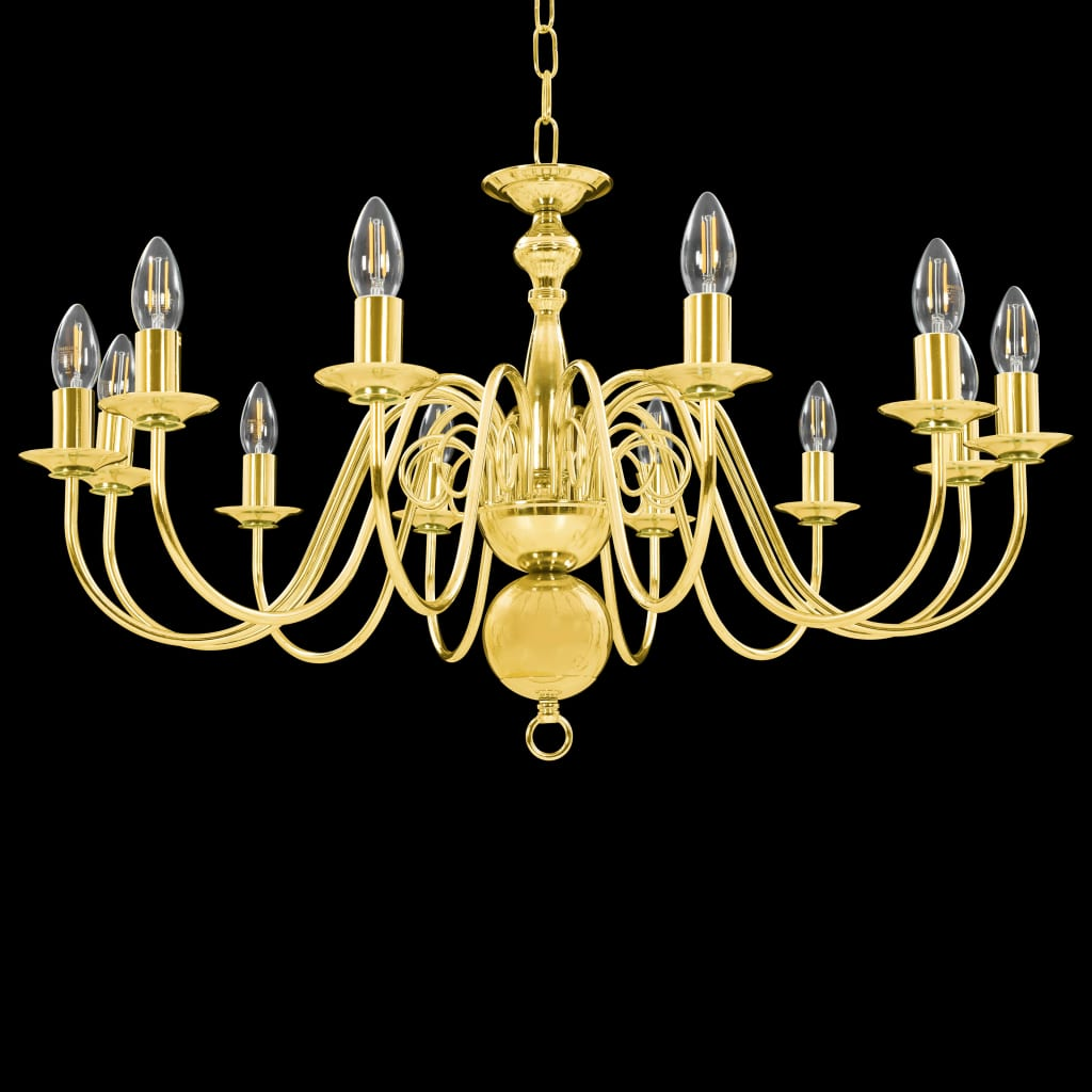 Takkrona guld 12 x E14-glödlampor