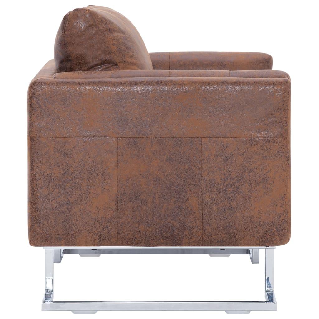 Kubformad fåtölj brun konstmocka