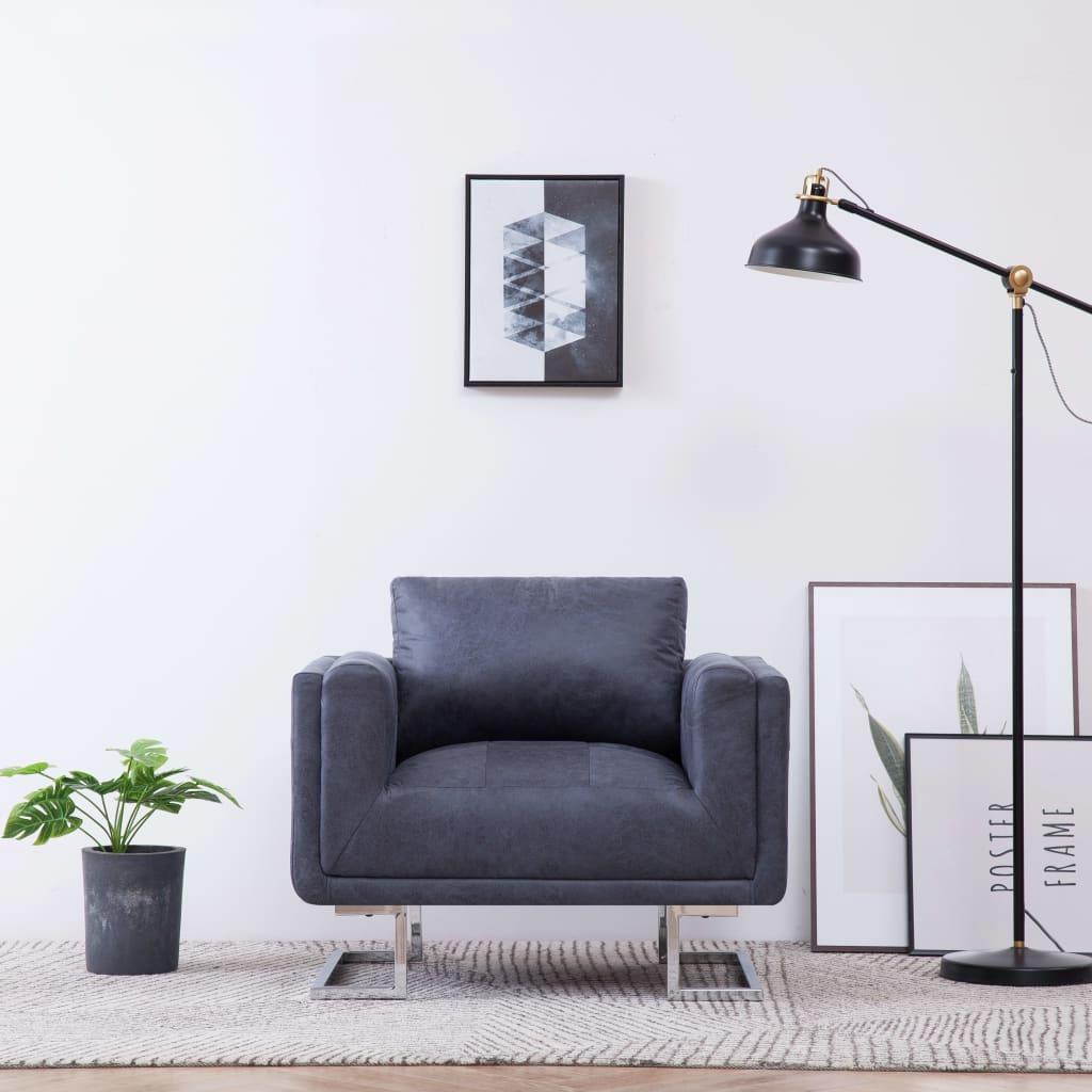 Kubformad fåtölj grå konstmocka