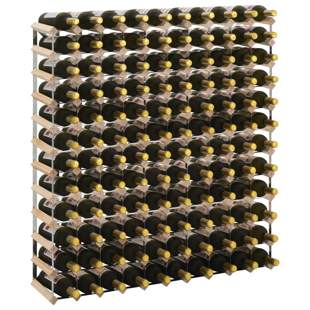 Vinställ för 120 flaskor massiv furu