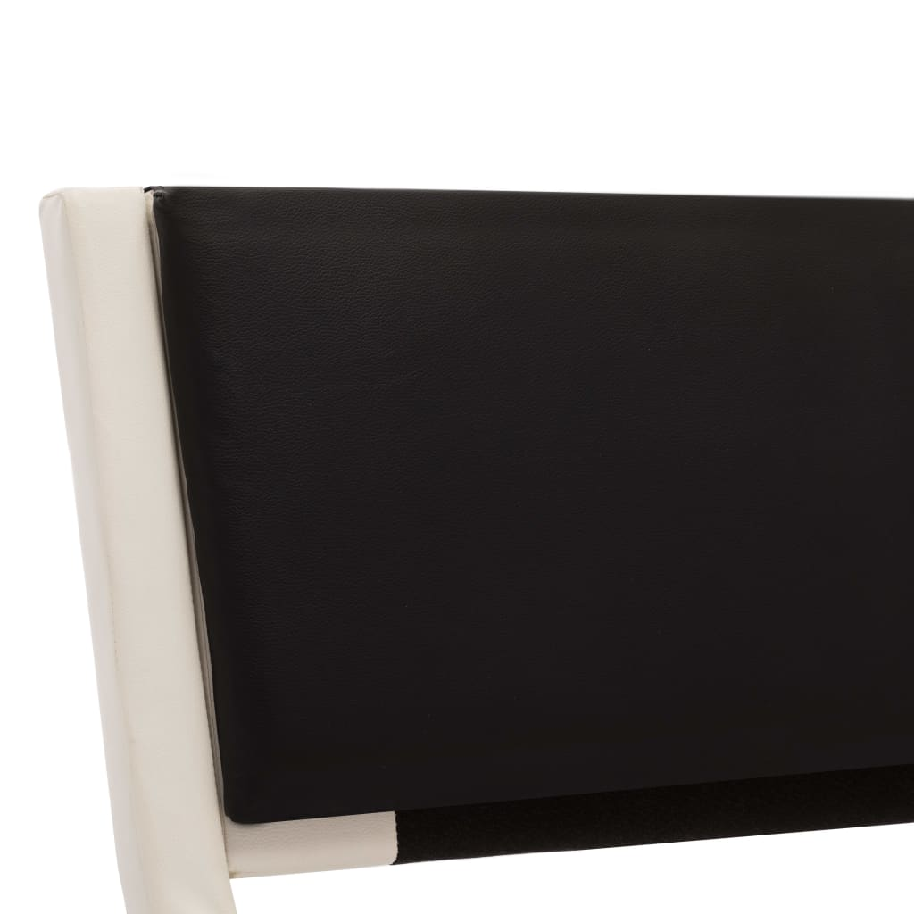 Sängram vit och svart konstläder 180x200 cm
