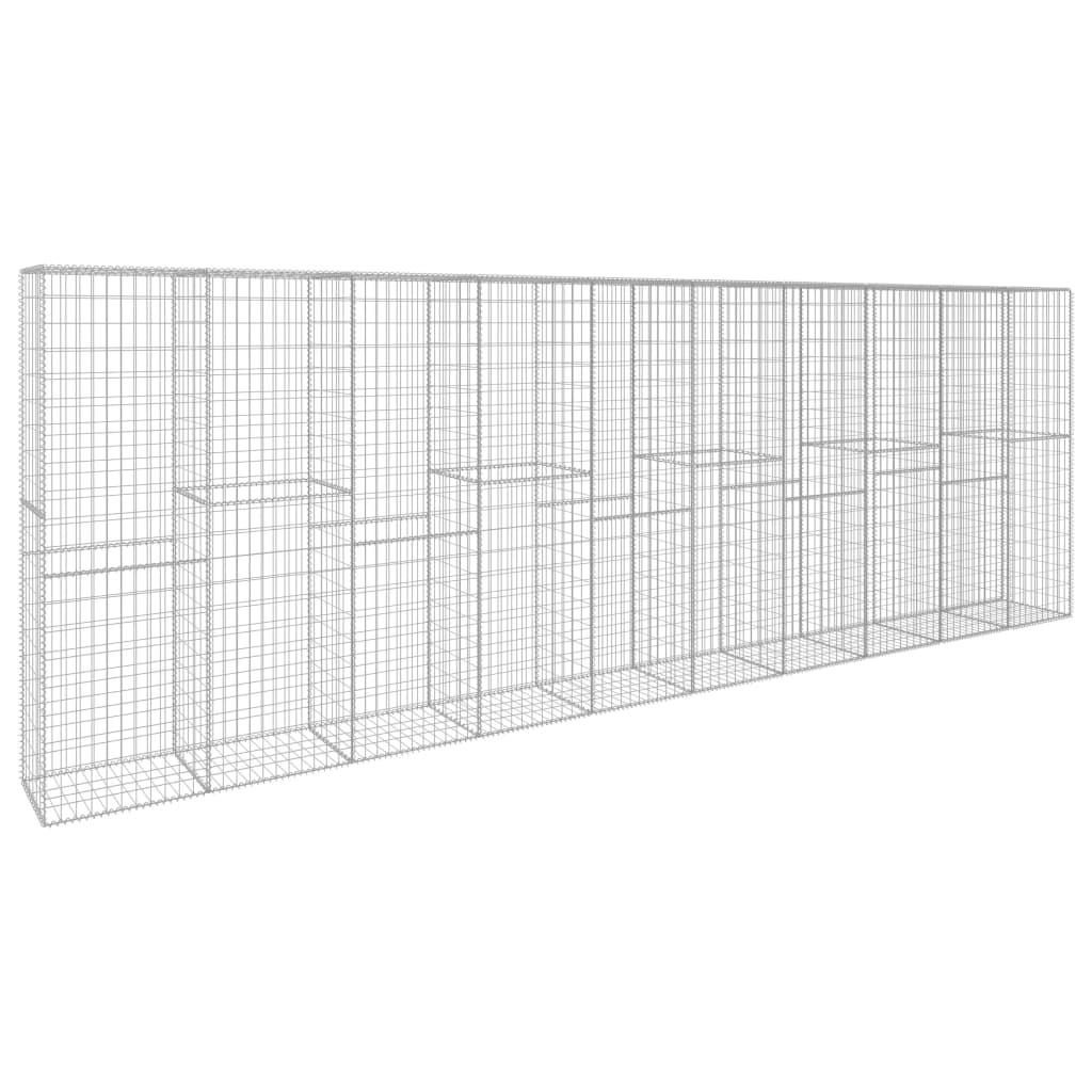 Gabionmur med lock galvaniserat stål 600x50x200 cm