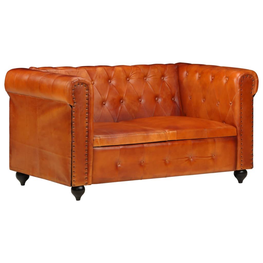 Chesterfieldsoffa 2-sits ljusbrun äkta läder