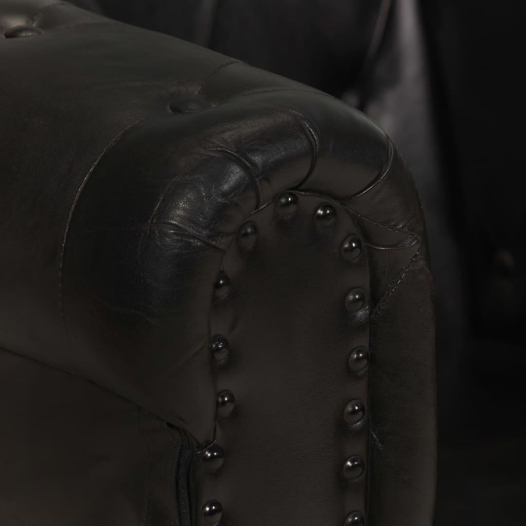Chesterfieldsoffa 2-sits svart äkta läder
