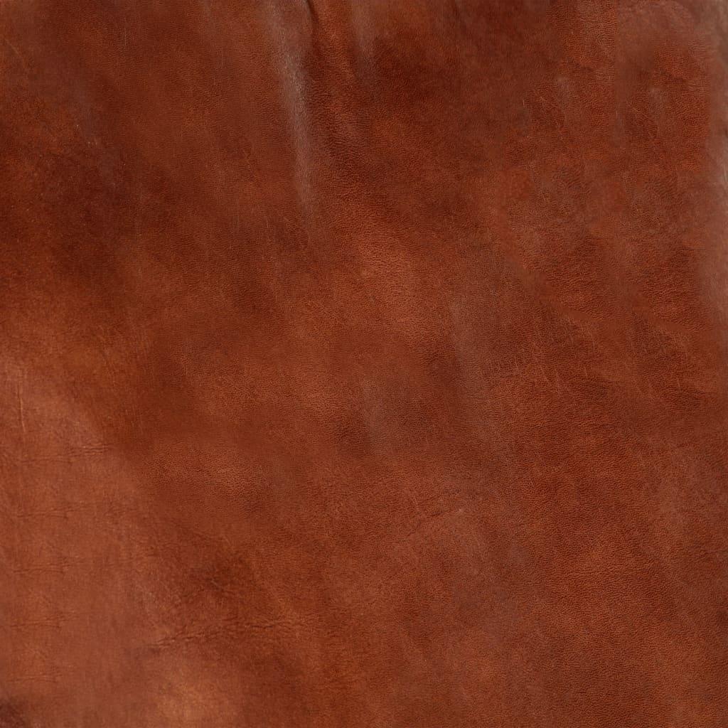 Gungfåtölj brun äkta läder och massivt mangoträ