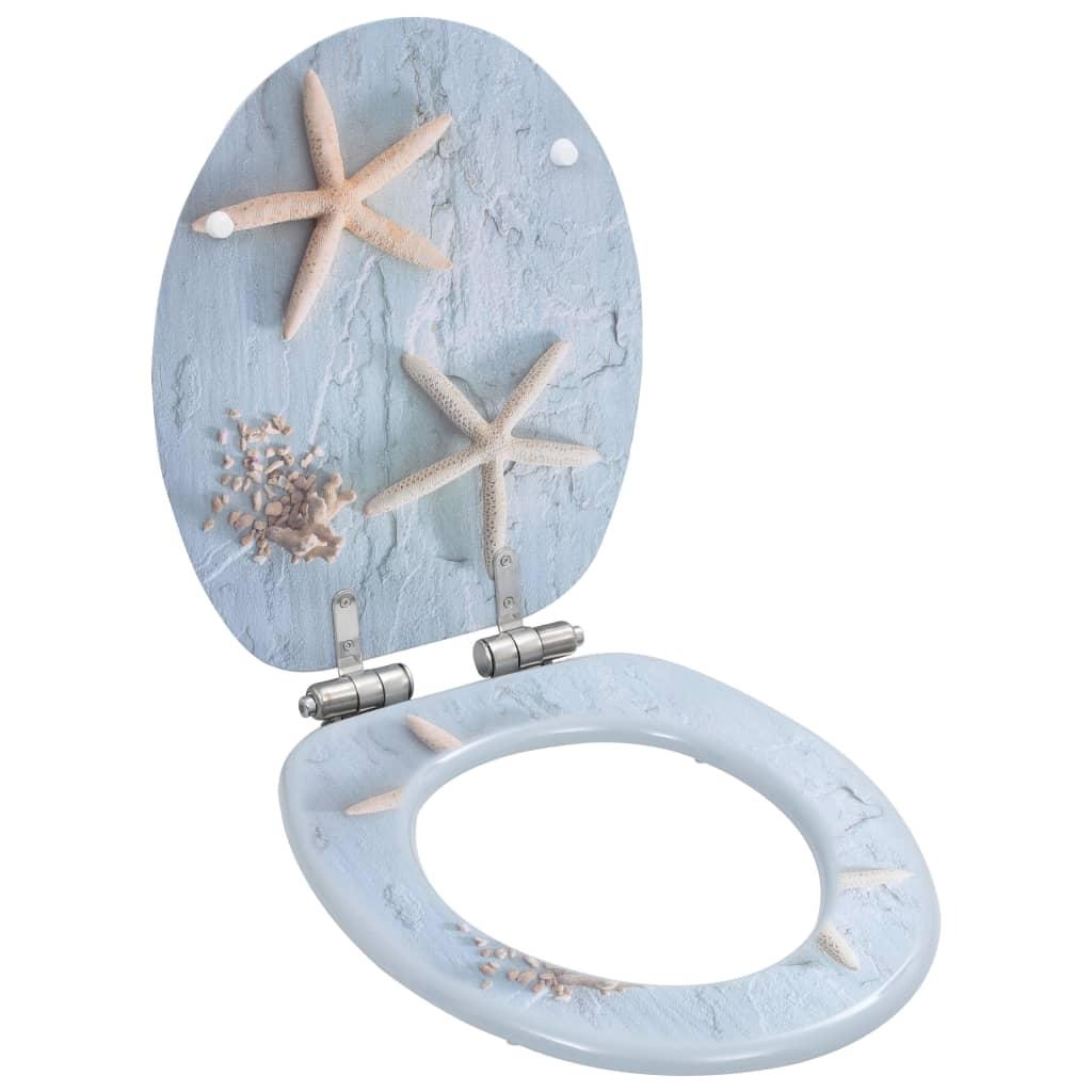 Toalettsitsar med mjuk stängning 2 st MDF sjöstjärna