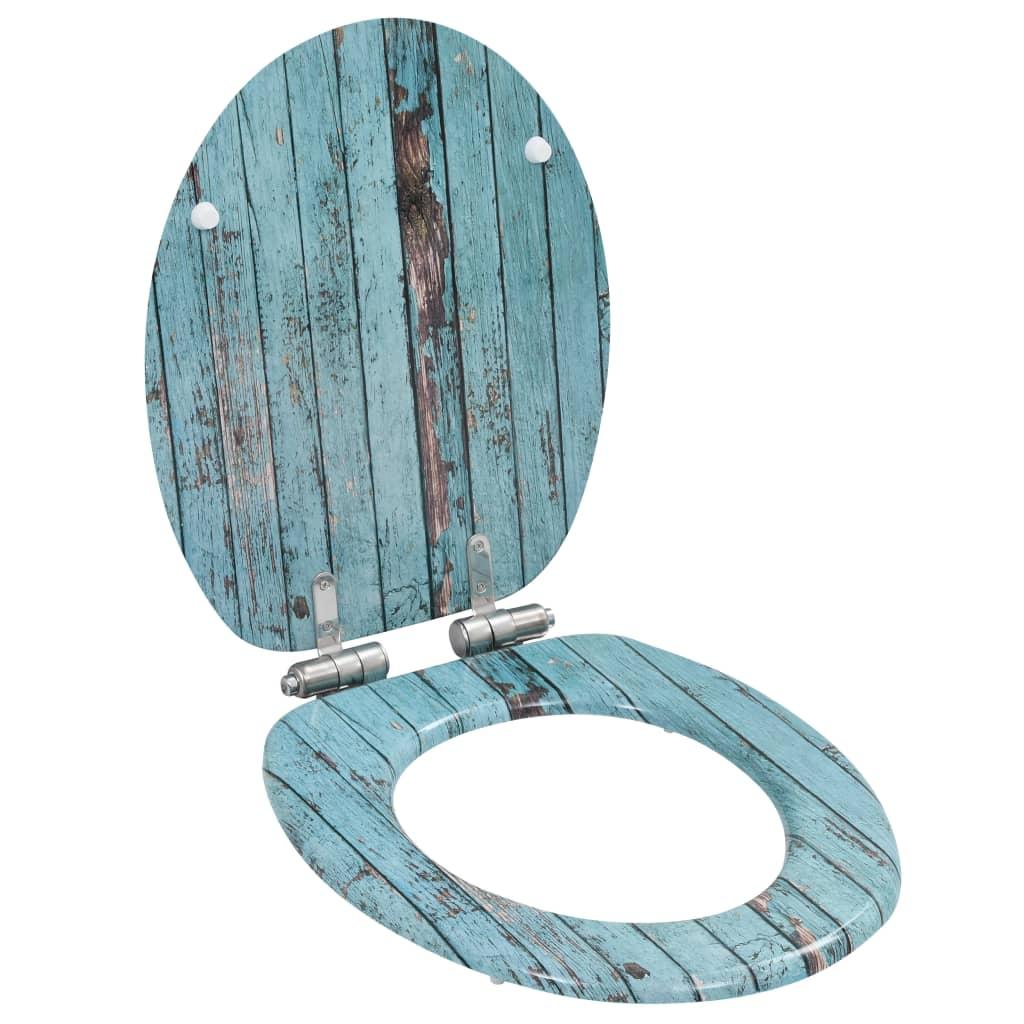 Toalettsitsar med mjuk stängning 2 st MDF åldrat trä