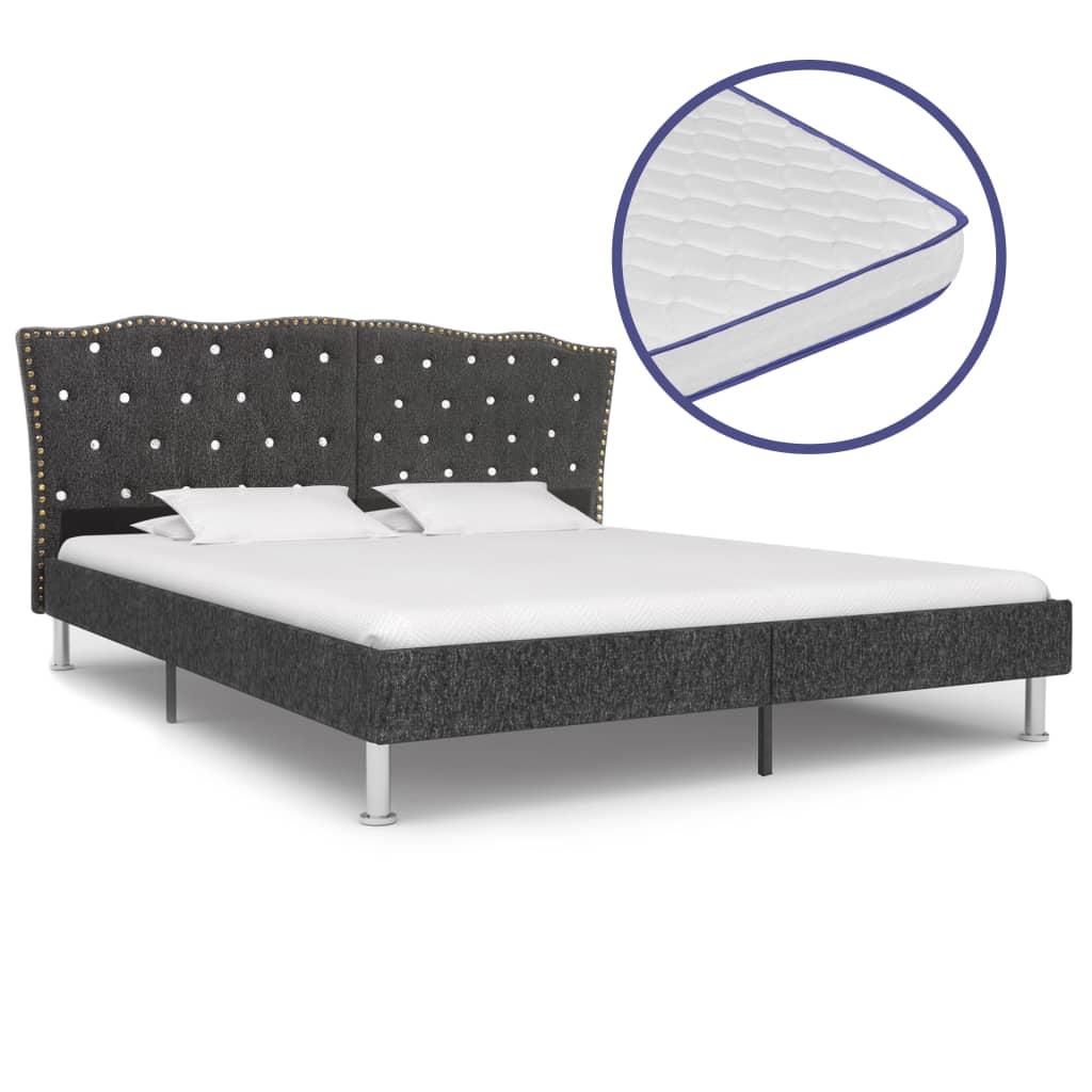 Säng med memoryskummadrass mörkgrå tyg 160x200 cm