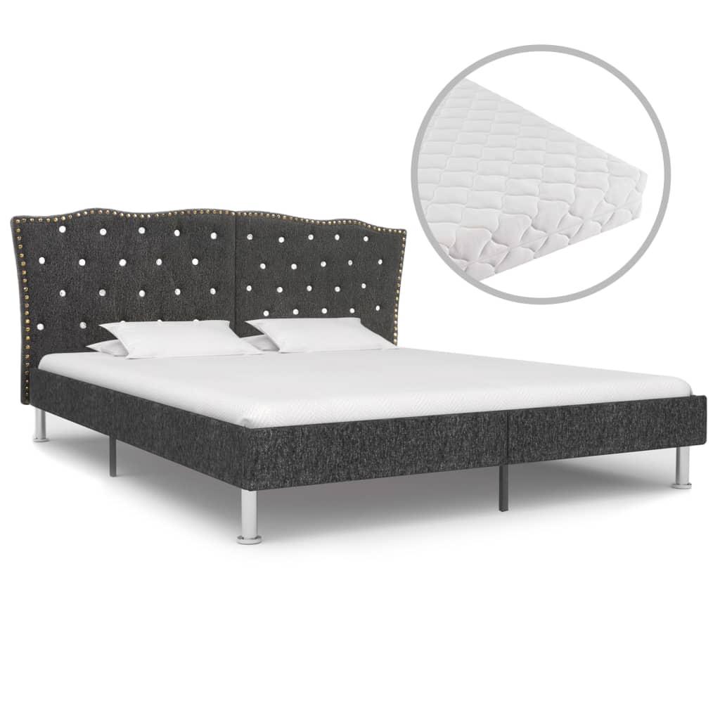Säng med madrass mörkgrå tyg 160x200 cm