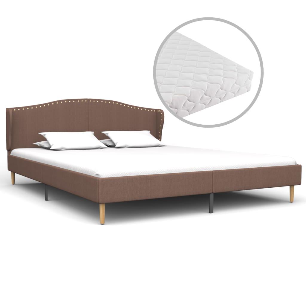 Säng med madrass brun tyg 160x200 cm