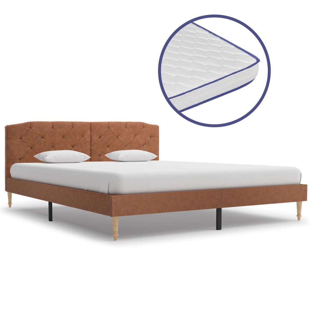 Säng med memoryskummadrass brun tyg 160x200 cm