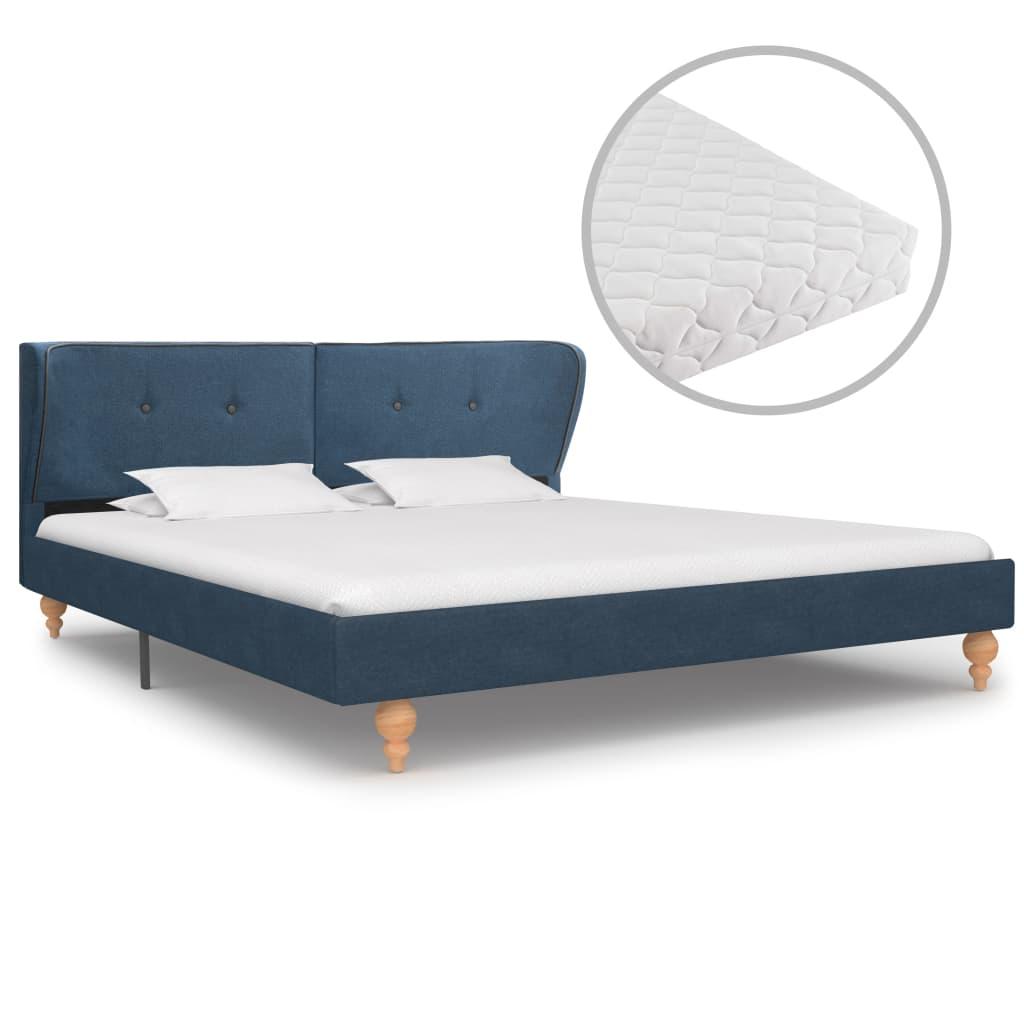 Säng med madrass blå tyg 180x200 cm