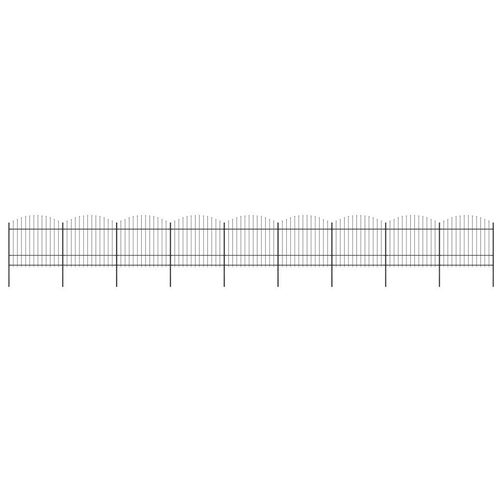 Trädgårdsstaket med spjuttopp stål (1,5-1,75)x15,3 m svart