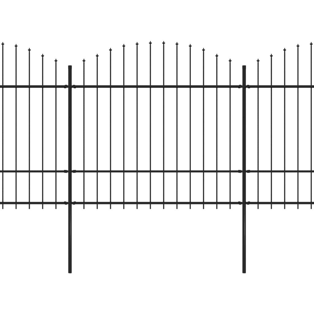 Trädgårdsstaket med spjuttopp stål (1,5-1,75)x17 m svart