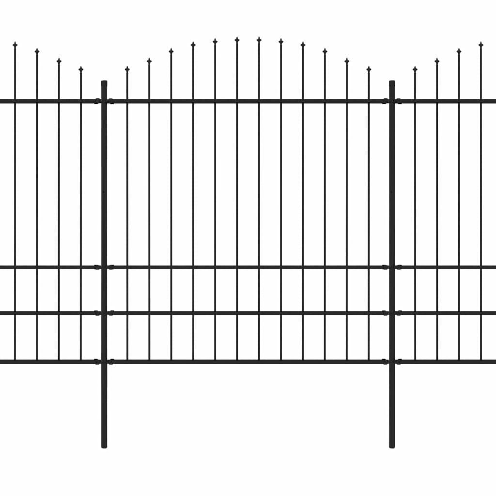 Trädgårdsstaket med spjuttopp stål (1,75-2)x3,4 m svart
