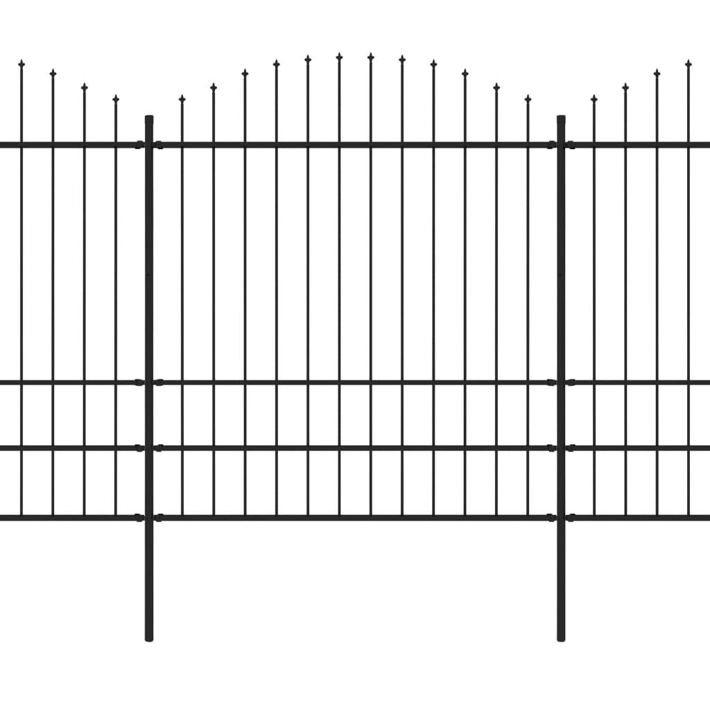 Trädgårdsstaket med spjuttopp stål (1,75-2)x5,1 m svart