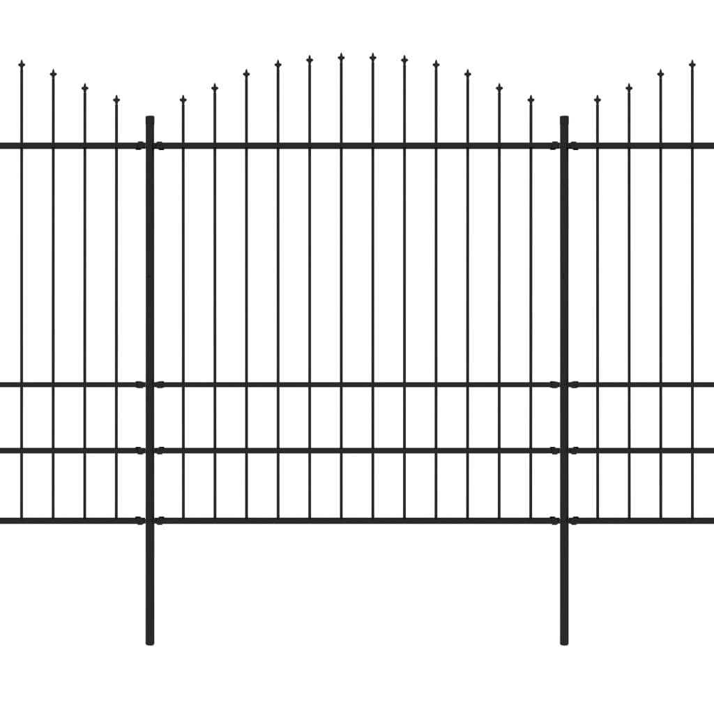 Trädgårdsstaket med spjuttopp stål (1,75-2)x6,8 m svart