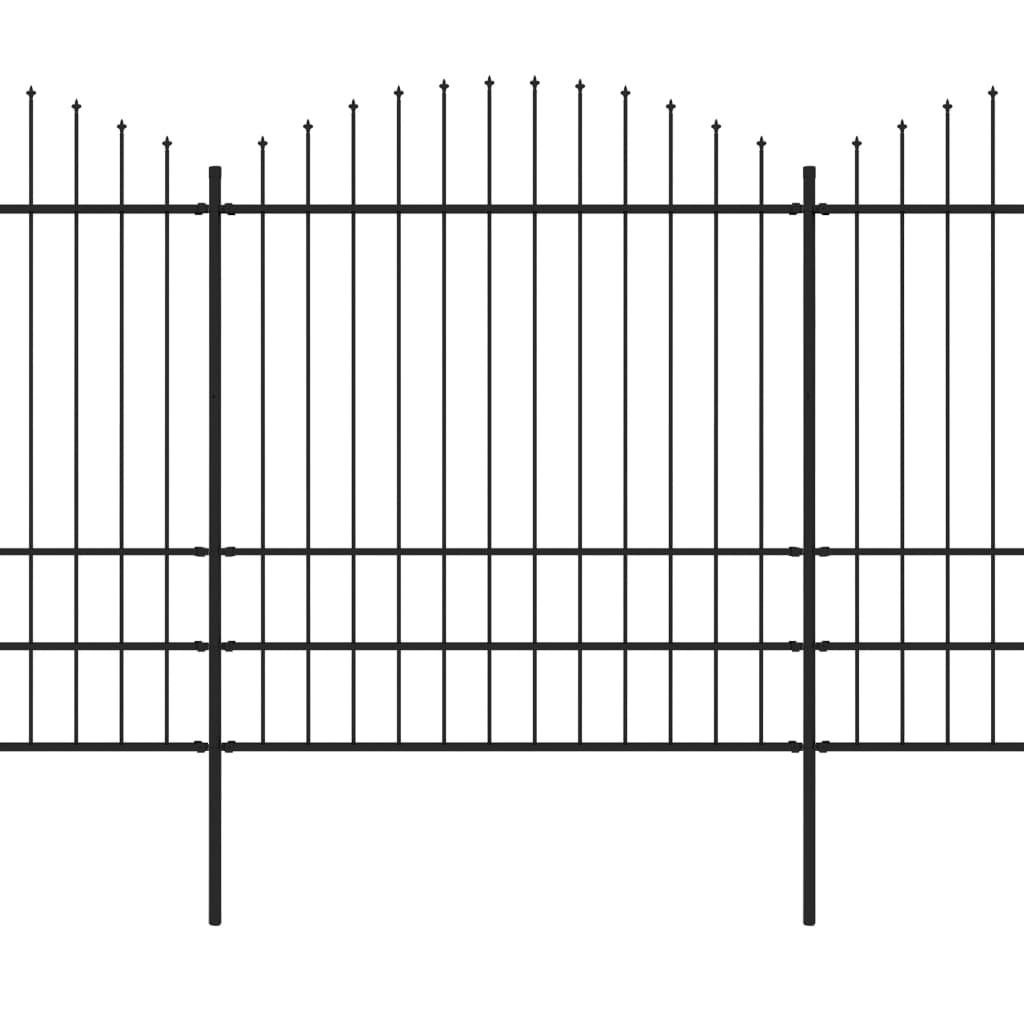 Trädgårdsstaket med spjuttopp stål (1,75-2)x13,6 m svart