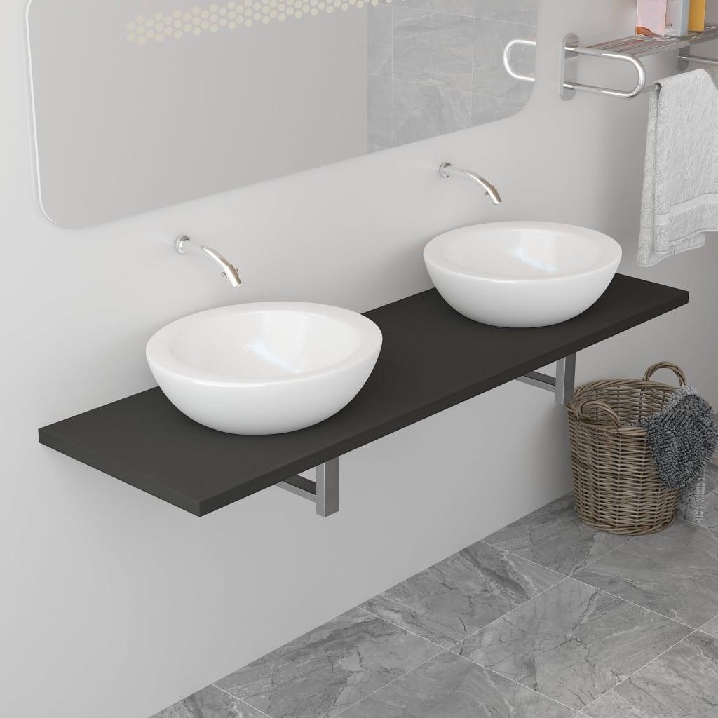 Badrumsmöbler grå 160x40x16,3 cm