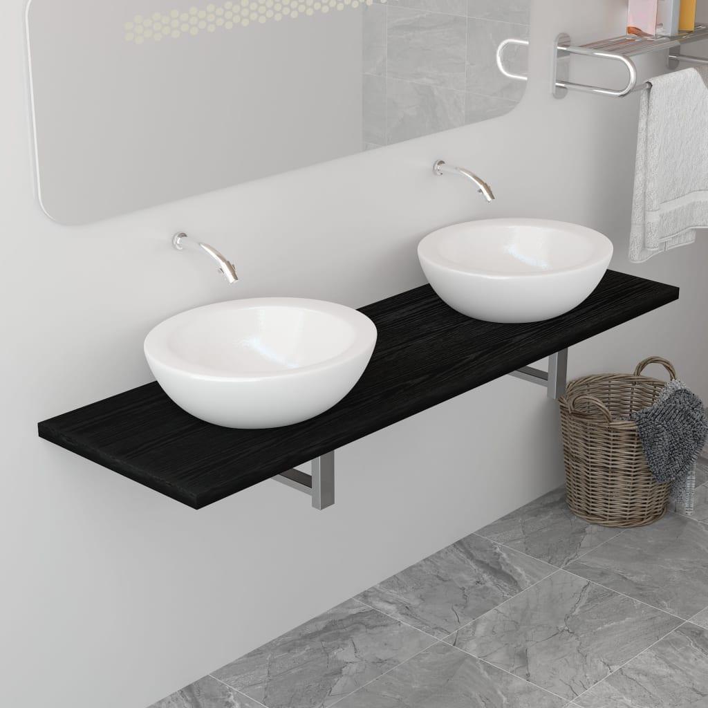 Badrumsmöbler svart 160x40x16,3 cm
