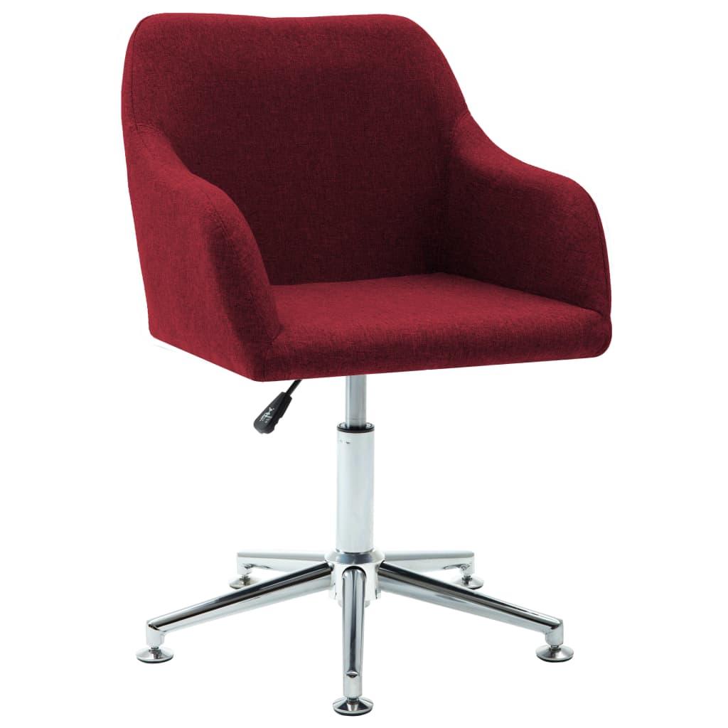 Snurrbar kontorsstol vinröd tyg