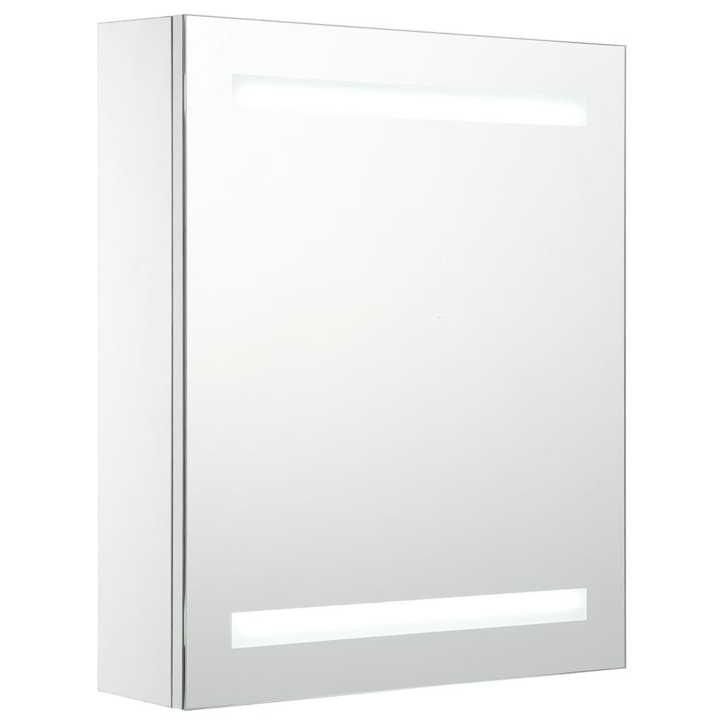 Badrumsspegel med skåp LED 50x14x60 cm