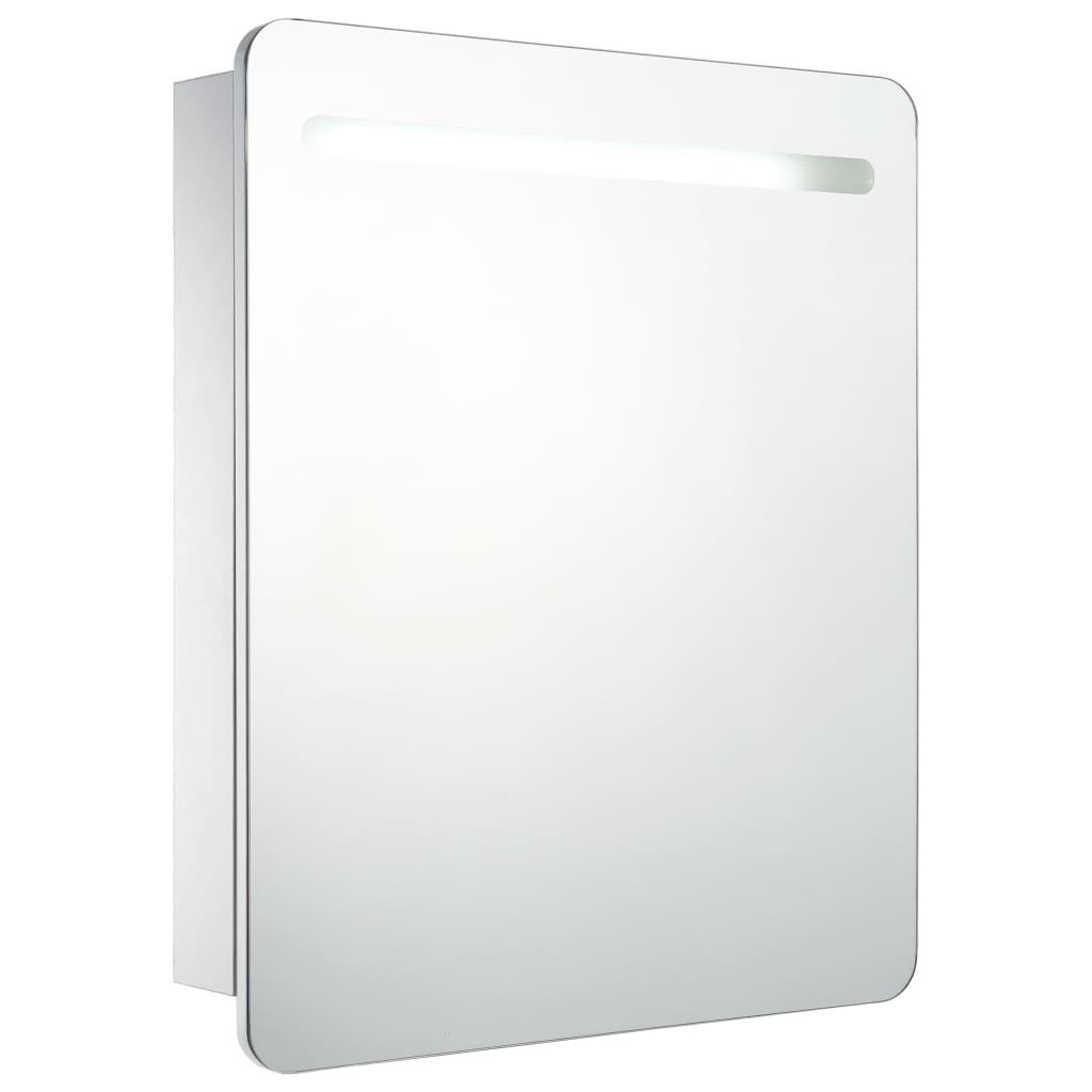 Badrumsspegel med skåp LED 68x11x80 cm