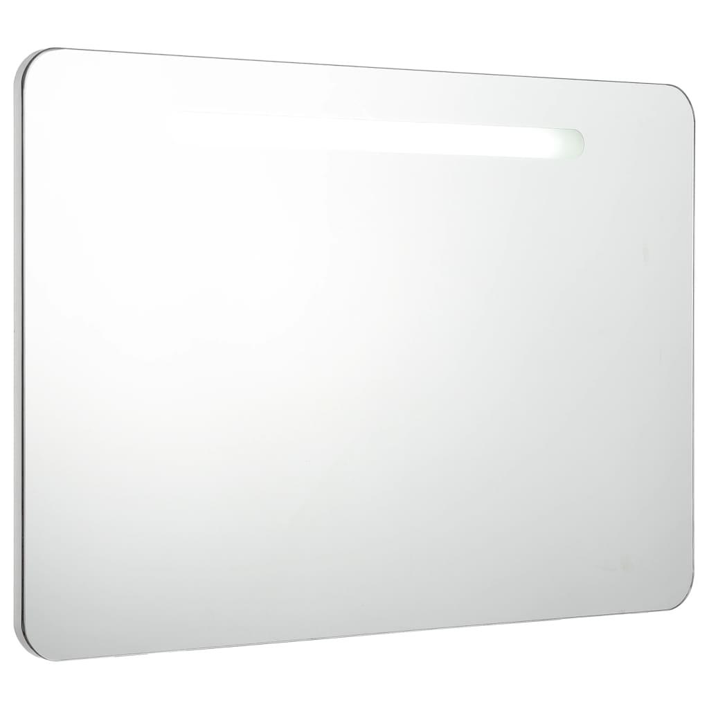 Badrumsskåp med spegel LED 80x11x55 cm