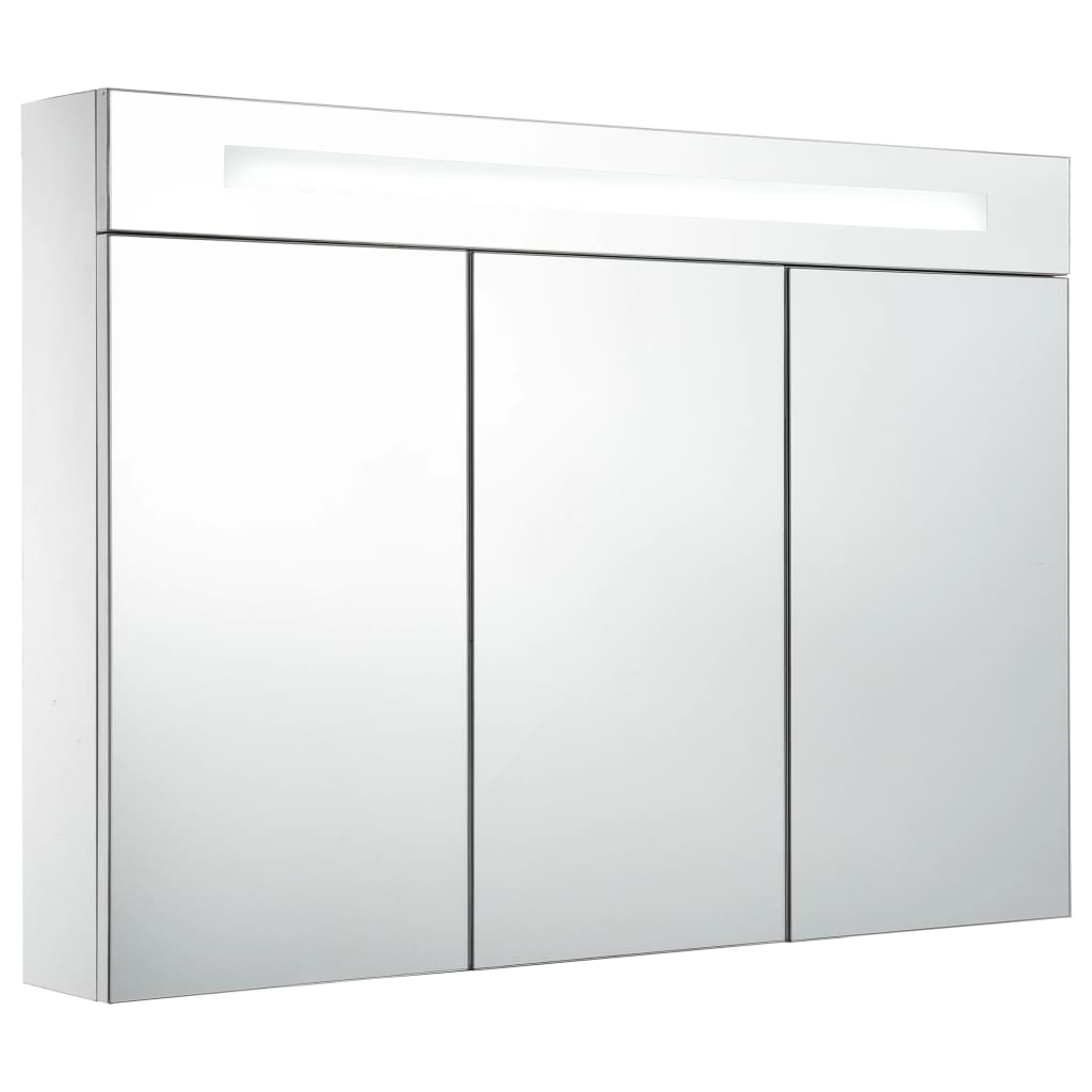 Badrumsskåp med spegel LED 88x13x62 cm