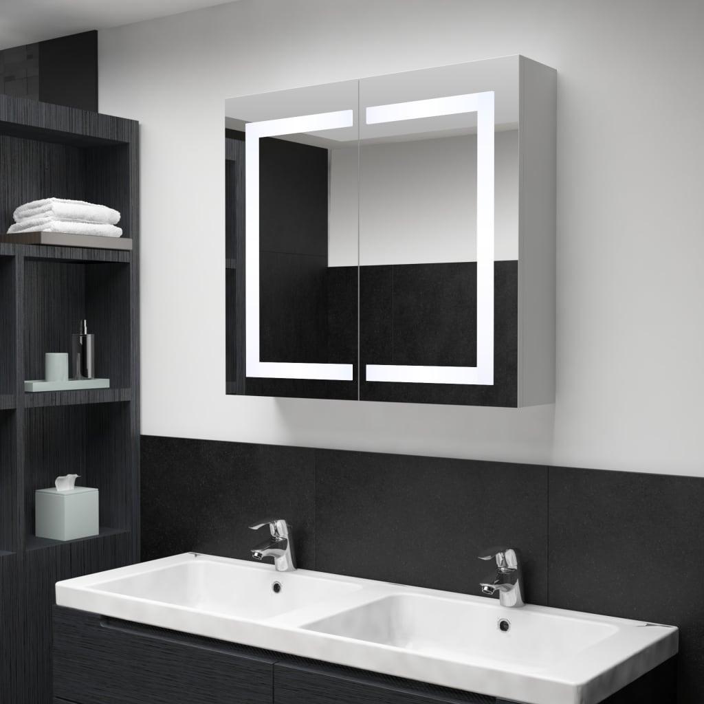 Badrumsskåp med spegel LED 80x12,2x68 cm