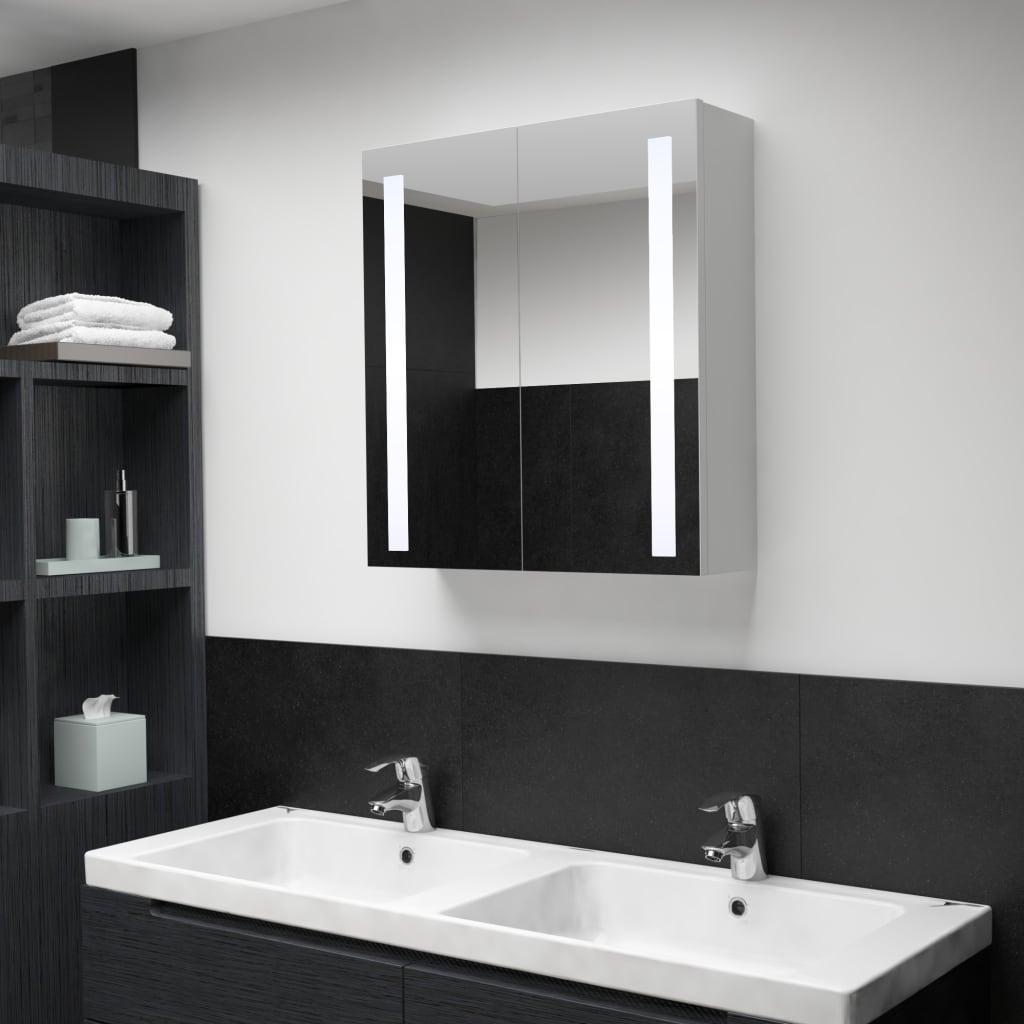 Badrumsskåp med spegel LED 62x14x60 cm