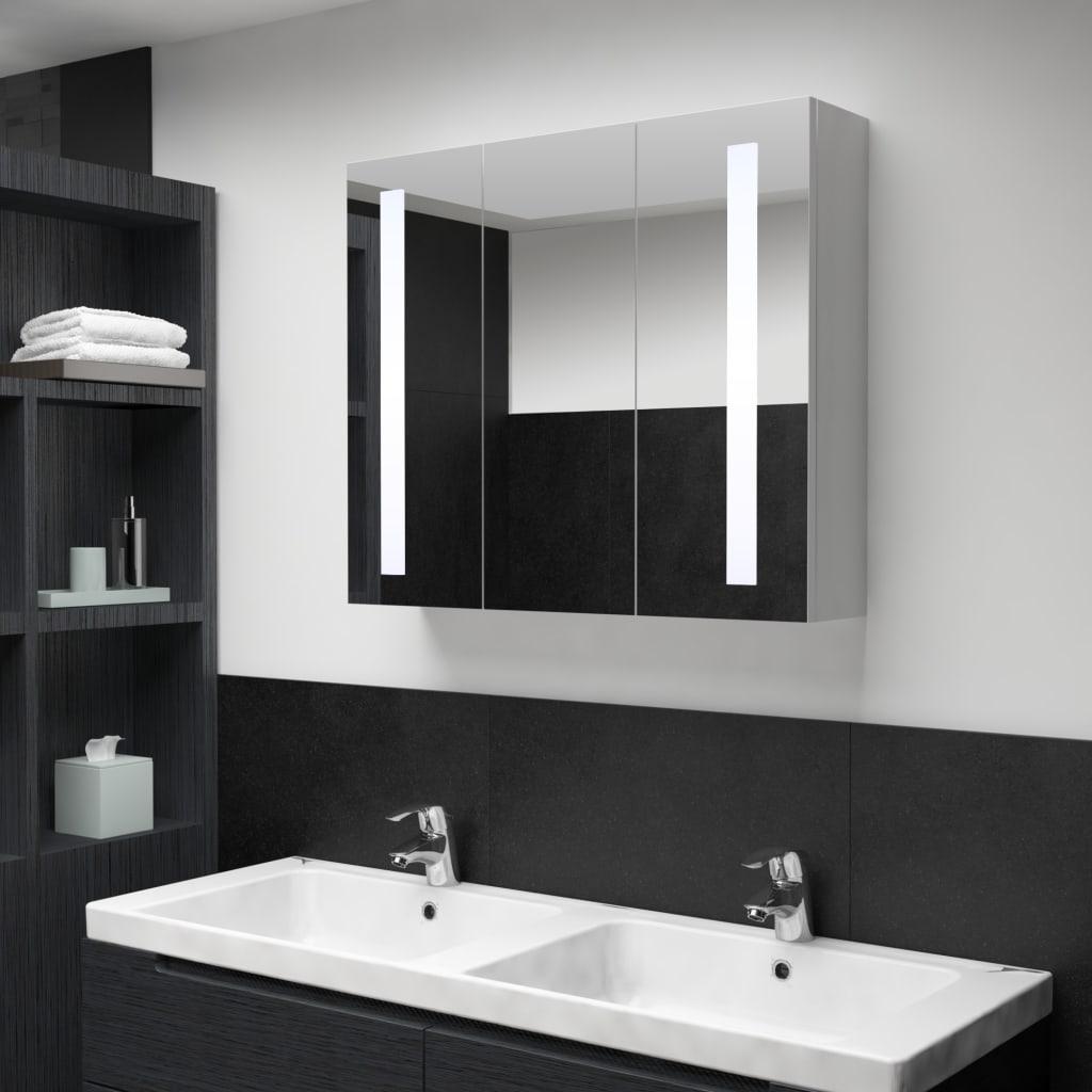 Badrumsskåp med spegel LED 89x14x62 cm