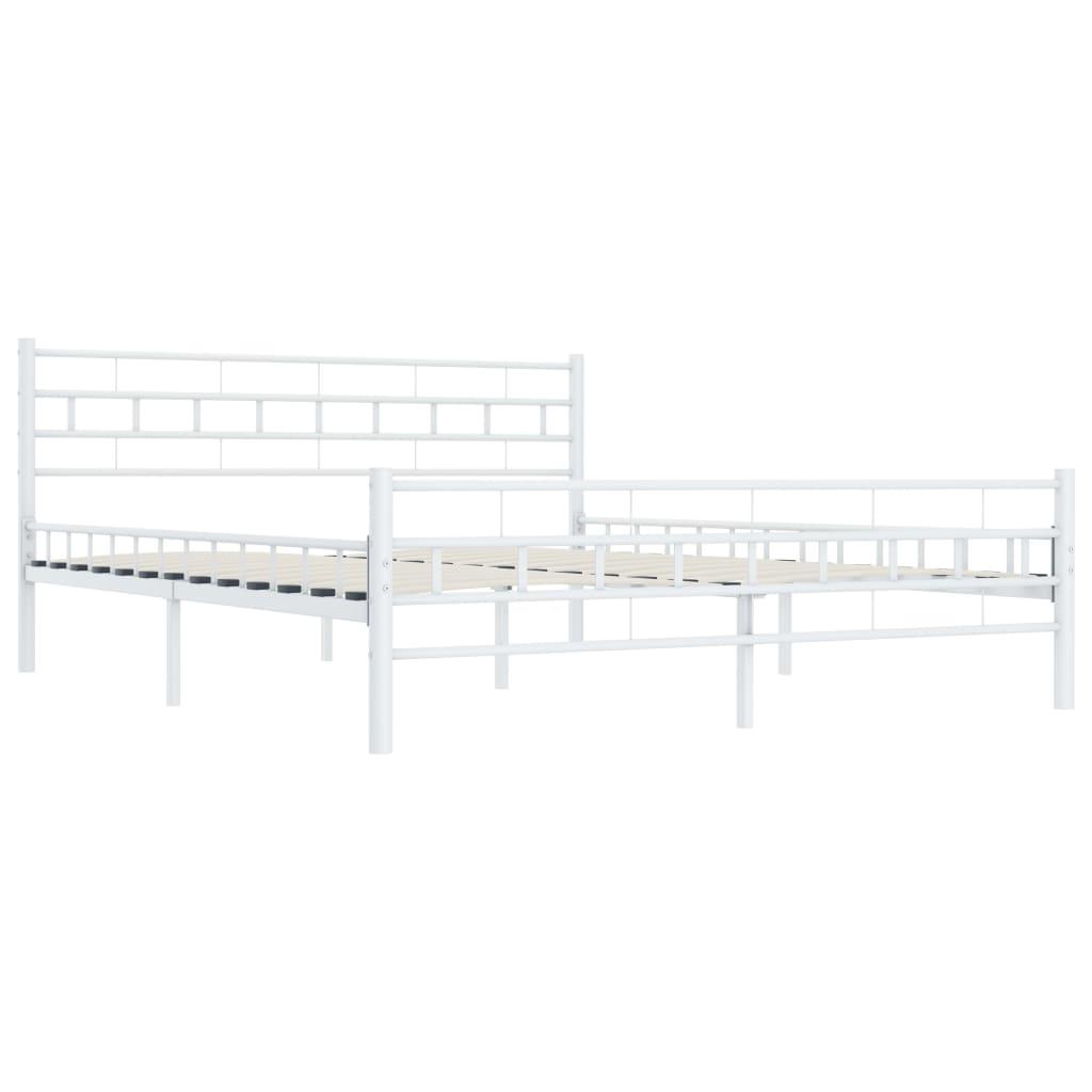 Sängram vit metall 200x200 cm