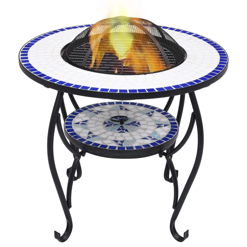 Eldgrop med mosaikbord blå och vit 68 cm keramik