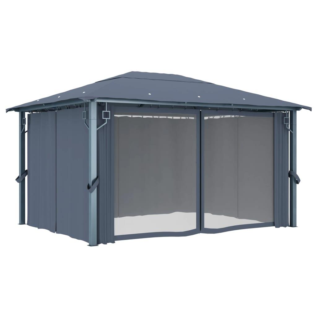 Paviljong med gardiner 400 x 300 cm antracit aluminium