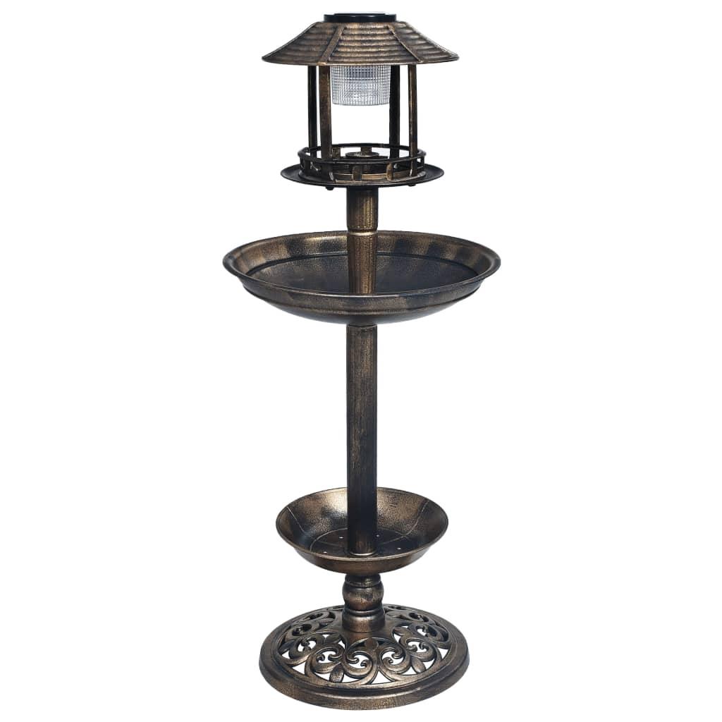 Dekorativt fågelbad med soldrivna LED-lampor plast